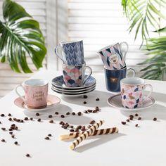 Sada šálok na espresso Cafe Mania rose&blue - Dekoria Espresso Cafe, Presents, Tableware, Kitchen, Ideas, Cute Mugs, Porcelain Ceramics, Kitchen Dining Rooms, Tablewares
