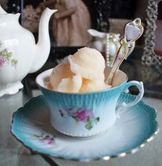 Champagne sorbet. A nice addition to afternoon tea. Perfect for when the bridesmaids chose and try on their dresses.