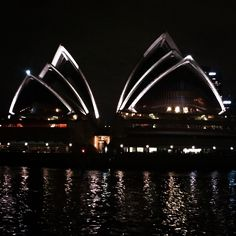 The view of Sydney Opera House at night from the Meanly Ferry - 15/01/15 #Manly #Manlybeach #Sydney #Australia #SydneyOperaHouse #backpackers #backpacking #adventure #gapyear #travel #Exploring #Sea #Ocean #ManlyFerry #BeachLife  #NightFerry #nofilter