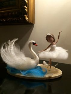 "Needle felted doll, Waldorf inspired, Wool, White Swan, White Fairy, ""Swan Lake"", Ballerina, Gift, Art doll, Ornament, Soft sculpture"