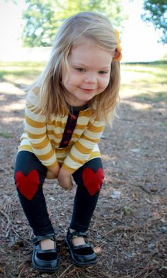 Denim Jeggings Red Heart Knee Patches..Kids by HappyCampersShop, $24.00