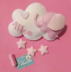 A sweet little elephant on a soft cloud is ready to welcome your children coming. And keep him company in their nursery. Entirely hand made in felt and felt. Baby Deco, Felt Gifts, Baby Mobile, Little Elephant, Felt Diy, Baby Crafts, Baby Room, Baby Kids, Projects To Try