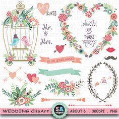 "Wedding Clipart ""WEDDING FLORA""clipart pack,Floral Frames,Birdcage ,Wreath, Love Bird,laurels,Wedding invitation,Instant Download Wf069"