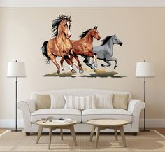 Full Color Wall decal horse herd of sheep running an animal living children's bedroom Horse Wall Decals, Horse Wall Art, Vinyl Wall Art, Horse Canvas Painting, Painting Frames, Horse Themed Bedrooms, Wall Decor Stickers, Home Decor Paintings, Wall Colors