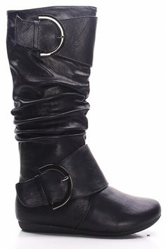Black Faux Leather Double Large Buckle Flat Knee High Boots