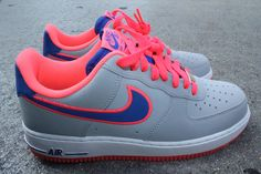 Nike Air Force Ones. Neon Coral and Royal Blue Sneakers