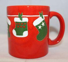 Waechtersbach Christmas Stockings Coffee Mug Cup Red West Germany Vintage 10oz #Waechtersbach
