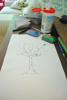 Going away gift - sketch a tree and branches, have guest put a fingerprint leaf on the tree and write their name under the leaf