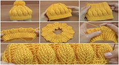 How to Crochet Beanie Hat With 3D Leaves - Tutorial