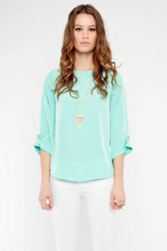Mint blouse and white skinnys. <3