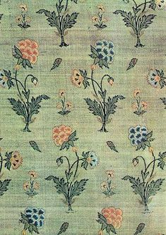 ~ Brocade (part of a robe). Repeats of flowering plants Persia, second half of century The Hermitage, Leningrad Aurora Art Publishers. Textile Pattern Design, Textile Patterns, Pattern Art, Print Patterns, Floral Patterns, Vintage Textiles, Vintage Patterns, Vintage Prints, Textile Prints