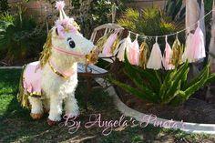 pink and gold Custom pinata White and Gold Pinata Carousel Horse Pinata Carnival Horse pinata Paper Tassels Circus Pinata shabby chic Pinata by angelaspinatas on Etsy