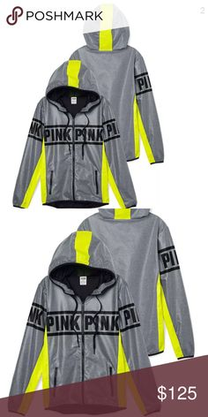 PINK VS anorak windbreaker grey &neon  lemon Sz XS as Pics PINK Victoria's Secret Jackets & Coats