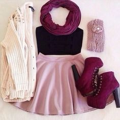 Heavy Metal Boyfriend Cardigan + Black Lace Midriff Top + Pastel Basic Skirt + Jeffrey Campbell Lita Bordeaux Boots