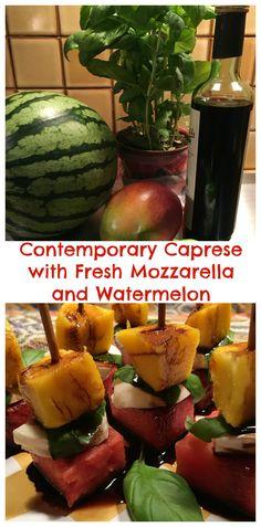 A contemporary version of a Caprese salad using fresh mozzarella, mangos, watermelon and basil. A perfect, quick and colorful appetizer using seasonal fruit and creamy fresh mozzarella.