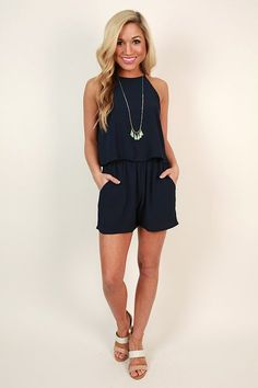 Hello Honey Romper in Navy