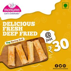Now spend your evening with delicious Veg Spring Roll. Order Delicious Fresh Deep Fried Veg Spring Roll just at Rs. 30/- Head to the nearest Monginis Outlet to have a yummy & scrumptious Veg Spring Roll. . . #Monginis #foodie #foodlover #vegan #vegspringrolls #vegetarian #veganfood #Evening #deliciousfood #bakery #savoury #savouries #cravingsatisfied #cravings #odisha #hungry Monginis Cake MONGINIS CAKE | IN.PINTEREST.COM RECIPES EDUCRATSWEB