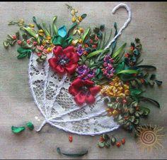 *RIBBON ART ~ Paraguas con flores