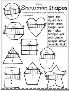 Snowman Shapes and Colors Worksheet for Winter. Snowman Shapes and Colors Worksheet for Winter. Preschool Themes, Preschool Lessons, Preschool Classroom, Preschool Worksheets, Preschool Learning, Kindergarten Activities, Classroom Activities, Learning Activities, Preschool Winter