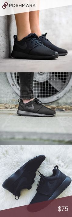 Nike Triple Black Roshe One Sneakers •The Nike Roshe One Women's Shoe is minimalist and versatile—intended to be worn with or without socks, dressed up or down, for walking or just taking it easy.   •Women's 6, true to size.   •New in box, no lid.   •NO TRADES/HOLDS/PAYPAL/MERC/VINTED/NONSENSE. Nike Shoes Sneakers