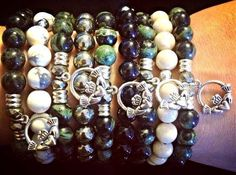 Tiffany Jazelle stacked arm for St. Patrick's Day with Green Jaspar and Green Jade semi precious stones!!