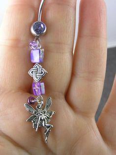 Purple Fairy Jasper Celtic Knot Belly Button Ring 14g 316L  ~  OOAK Dangle Navel Body Piercing Jewelry Teen Women
