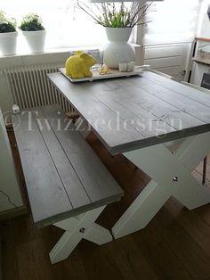 Twizziedesign steigerhout tafel met bank
