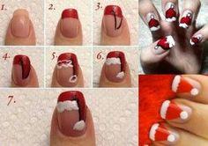 Santa Claus, encuentra éste y otros  increíbles diseños de uñas paso a paso aquí...http://www.1001consejos.com/decoracion-de-unas-paso-paso/