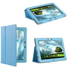 i-Blason Premium Leather Folio Carry Case : Cover With Adjustable Stand for Asus Transformer TF300 BLUE