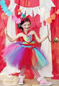 Girls Circus Tutu Dress Clown Costume Circus Costume Clown