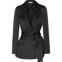 Barbara Casasola Belted wool and silk-blend blazer (26,565 INR) ❤ liked on Polyvore featuring outerwear, jackets, blazers, black, belted jacket, one-button blazer, wool blazer, tailored jacket and woolen jacket