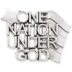 Sterling Silver One Nation Under God Lapel Pin 14x19mm