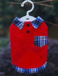 Red Polo Shirt with Plaid Pocket and Collar
