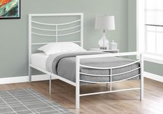 Harrison Platform Twin Bed Frame - White Metal . . . #furniture #homedecor #interiordesign #design #decor #home #living #office #family #entertainment #luxury #affordable #sale #discount #freeshipping #canada #toronto #usa #america #fashion #design #bedroom #comfort #happy #style #rest #relax