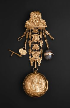 Chatelaine with watch, key, pomander, about 1770, London, England.