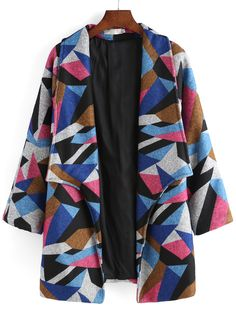 Lapel+Geometric+Print+Long+Coat+20.90
