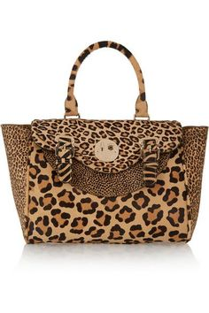 8796c53f1e Hill & Friends -- Happy Satchel Leopard Print Calf Hair Tote Animal Print Tote  Bags