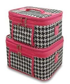 Train Case Cosmetic Toiletry 2 Piece Luggage Set Hot Pink Trim Black White Houndstooth Print by scarlettsbags. $32.75. Material : Canvas. Adjustable Shoulder Straps Included. Color: Black White Pink. Size : Large (11 x 9 x 7 in.) Small (9.5 x 7.5 x 5.5 in.). Mirrors inside each train case. Complete with detachable and adjustable shoulder straps, interior mirrors, and outside zipper pockets for added convenience, this two piece train case is sure to please! Each so...