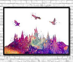 Hogwarts Castle From Harry Potter Watercolor Art by ArtsPrint