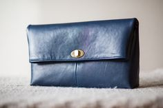 Goat Leather Clutch / Women Small Leather Bag / Blue by Imunde