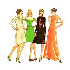70s Dress Pattern McCalls 3909 Keyhole Neckline Dress in Two Lengths, Sleeve Variations, Bust 36, Uncut