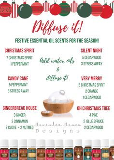 DIGITIAL DOWNLOAD| Essential Oil Diffuser Holiday Recipe Guide | Christmas Recipes | Young Living Essential Oils by LavenderLanesDesigns on Etsy https://www.etsy.com/listing/471802970/digitial-download-essential-oil-diffuser