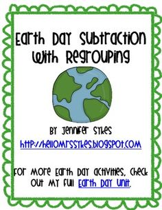 Here's a set of 12 subtraction task cards with an Earth Day theme.