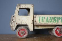 Wooden 1950s Toy Pick Up Truck    Worldwide shipping Hand painted Beech Historic woodworm, fully treated A few repairs Cream with red wheels