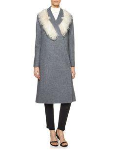 Grey Mongolian Fur Collar Coat | J.JS Lee | Avenue32