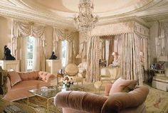 Luxurious blends of 20th century Hollywood high style and classic 18th century French style.
