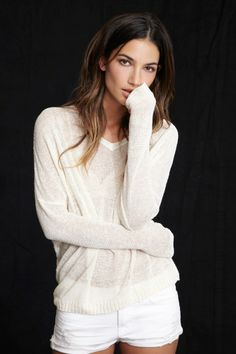 want // JOSIE SILK LINEN KNIT SWEATER - Shop Lily - Lily Aldridge for Velvet - Women