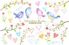 Watercolor Clipart Valentine Birds by Corner Croft on @creativemarket