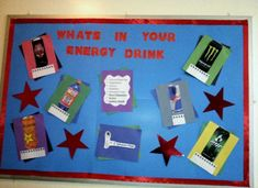 Great bulletin board that highlights the dangers of energy drinks.