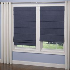 Elegant Home Fashions Navy Room Darkening Cordless Fabric Roman Shade - 36 in. W x 64 in. L